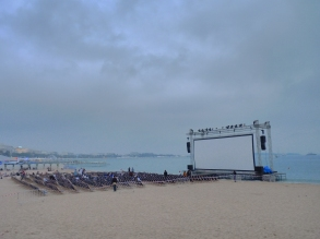 Projection sur la plage de Cannes 2015